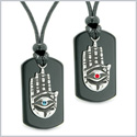 All Seeing Feeling Buddha Eye Hamsa Hand Love Couple Best Friend Agate Tag Red Sky Blue Crystal Necklaces