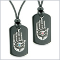 All Seeing Feeling Buddha Eye Hamsa Hand Love Couples Black Agate Tag Pink Sky Blue Crystals Necklaces