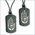 All Seeing Feeling Buddha Eye Hamsa Hand Love Couple Best Friends Agate Tag Pink Green Crystals Necklaces