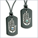 All Seeing Feeling Buddha Eye Hamsa Hand Love Couple Best Friends Agate Tag Blue Green Crystals Necklaces