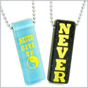 Never Give Up Tags Love Couples Best Friends Yin Yang Amulets Goldstone Blue Simulated Cats Eye Necklaces
