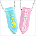 Never Give Up Amulets Yin Yang Love Couples Best Friends Blue Pink Simulated Cats Eye Arrowhead Necklaces