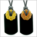 Cool Agate Tag Carnelian Tiger Eye Lucky Celtic Flower Donut Amulets Couples or Best Friends Necklaces