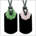 Cool Agate Tag Rose and Green Quartz Lucky Celtic Flower Donut Amulets Couples or Best Friends Necklaces