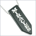 Have Faith Believe in Miracles Reversible Yin Yang Energy Amulet Arrowhead Black Agate 18 inch Necklace