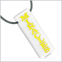 Have Faith Believe in Miracles Reversible Yin Yang Energy Amulet Tag White Simulated Cats Eye Necklace