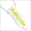 Have Faith Believe Miracles Reversible Yin Yang Amulet Arrowhead White Simulated Cat Eye 18 inch Necklace