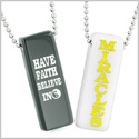 Have Faith Believe in Miracles Best Friends Love Couples Yin Yang White Quartz Black Agate Tag Necklaces