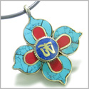 Amulet Tibetan OM Mantra Turquoise and Lapis Lazuli Magic Symbols Lotus Pendant Necklace