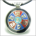 Amulet Double Sided Tibetan Mantra Om Mani Padme Hum Buddha Wheel of Fortune Turquoise Lapis Lazuli Magic Circle Pendant Necklac