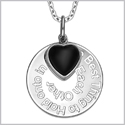 "The Best Thing to Hold on to in Life Inspirational Pendant Simulated Onyx Heart Charm Amulet 22"" Necklace"