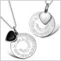 The Best Thing to Hold onto in Life Inspirational Heart Couples Simulated Onyx White Cats Eye Necklaces