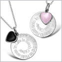 The Best Thing to Hold onto in Life Inspirational Heart Couples Simulated Onyx Pink Cats Eye Necklaces