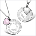 The Best Thing to Hold onto in Life Inspirational Heart Couples Set White and Pink Cats Eye Necklaces