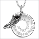 "The Best Thing to Hold on to in Life Inspirational Pendant Simulated Onyx Angel Wing Amulet 18"" Necklace"
