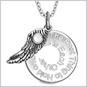 "The Best Thing to Hold on to in Life Inspirational Pendant White Cats Eye Angel Wing Amulet 22"" Necklace"