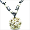 Amulet Original Tibetan Magic OM Symbol Lotus Flower Carved Natural White Bone Lucky Charm Pendant on Adjustable Cord Necklace