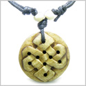 Amulet Original Tibetan Endless Knot Celtic Shield Magic Symbol Natural Carved Bone Pendant Adjustable Necklace