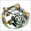 Amulet Original Tibetan OM Positive Energy Magic Circle and Sun Natural Carved Bone Lucky Charm Adjustable Bracelet