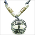 Amulet Original Tibetan Magic Style Eye of Horus Protection Symbols Lucky Charm Hand Carved Natural Bone Pendant Adjustable Cord