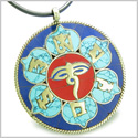 Amulet Tibetan Mantra Om Mani Padme Hum Buddha All Seeing Eye Turquoise Lapis Magic Circle Medallion Lotus Pendant Necklace