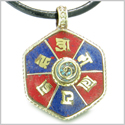 Amulet Tibetan Mantra Om Mani Padme Hum Infinity Swirl Turquoise and Lapis Magic Symbols Medallion Pendant Necklace