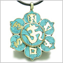 Amulet Tibetan Mantra Ancient Om Mani Padme Hum Turquoise Magic Symbols Medallion Lotus Pendant Necklace