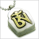 "Amulet Tibetan Ancient Gold Tone OM Magic Symbol Prayer Box Secret Wish Keeper Pewter Pendant on 18"" Stainless Steel Necklace"