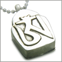 "Amulet Tibetan Ancient Silver Tone OM Magic Symbol Prayer Box Secret Wish Keeper Pewter Pendant on 18"" Stainless Steel Necklace"
