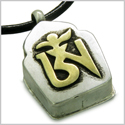 "Amulet Tibetan Ancient Gold Tone OM Magic Symbol Prayer Box Secret Wish Keeper Pewter Pendant on 18"" Leather Cord Necklace"