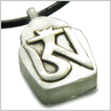 "Amulet Tibetan Ancient Silver Tone OM Magic Symbol Prayer Box Secret Wish Keeper Pewter Pendant on 18"" Leather Cord Necklace"