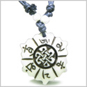 Amulet Original Tibetan Mantra Om Mani Padme Hum Lotus Celtic Shield Knot White Bone Magic Pendant Necklace