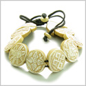 Amulet Original Tibetan Eight Auspicious Magic Symbols Natural Carved White Bone Lucky Charms Adjustable Bracelet