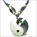 Amulet Original Tibetan Yin Yang Balance Special Powers Natural Carved Bone Magic Lucky Charm Pendant Adjustable Necklace