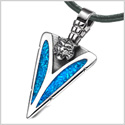 Arrowhead Wild Tiger Head Brave Powers Protection Amulet Simulated Turquoise Pendant Leather Necklace