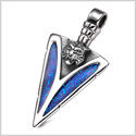 Arrowhead Wild Tiger Head Brave Powers Protection Amulet Sparkling Royal Blue Pendant