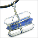 Life Power Silver Triple Lucky Amulet Crystal Point Wands Crystal Quartz and Lapis Lazuli Pendant Necklace