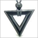 Amulet Triangle Magic and Protection Powers Lucky Charm Black Onyx Arrowhead Spiritual Energies Pendant on Adjustable Necklace