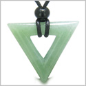 Amulet Triangle Magic and Protection Powers Lucky Charm Green Aventurine Arrowhead Courage Energies Pendant Adjustable Necklace