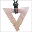 Amulet Triangle Magic and Protection Powers Lucky Charm Rose Quartz Arrowhead Love Energies Pendant on Adjustable Necklace