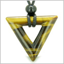 Amulet Triangle Magic and Protection Powers Lucky Charm Tiger Eye Arrowhead Healing Energies Pendant on Adjustable Necklace