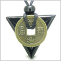 Amulet Triangle Protection Powers Antique Lucky Coin Charm Black Onyx Arrowhead Gemstone Pendant on Adjustable Necklace