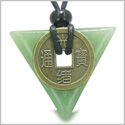Amulet Triangle Protection Powers Antique Lucky Coin Charm Green Aventurine Arrowhead Gemstone Pendant on Adjustable Necklace