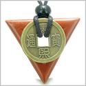 Amulet Triangle Protection Powers Antique Lucky Coin Charm Red Jasper Arrowhead Gemstone Pendant on Adjustable Necklace