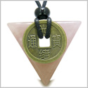 Amulet Triangle Protection Powers Antique Lucky Coin Charm Rose Quartz Arrowhead Gemstone Pendant on Adjustable Necklace