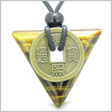 Amulet Triangle Protection Powers Antique Lucky Coin Charm Tiger Eye Arrowhead Gemstone Pendant on Adjustable Necklace