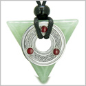 Amulet Celtic Triquetra Knot Trinity Magic Powers Triangle Good Luck Energies Green Aventurine Gem Pendant Adjustable Necklace
