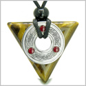 Amulet Celtic Triquetra Knot Trinity Magic Powers Triangle Protection Energies Tiger Eye Gem Pendant Adjustable Cord Necklace