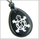 Lucky Turtle and Magic Yin Yang Spiritual Powers Amulet Black Onyx Wish Totem Gemstone Pendant Necklace