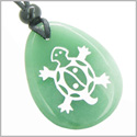 Lucky Turtle and Magic Yin Yang Good Luck Powers Amulet Green Aventurine Wish Totem Gemstone Pendant Necklace